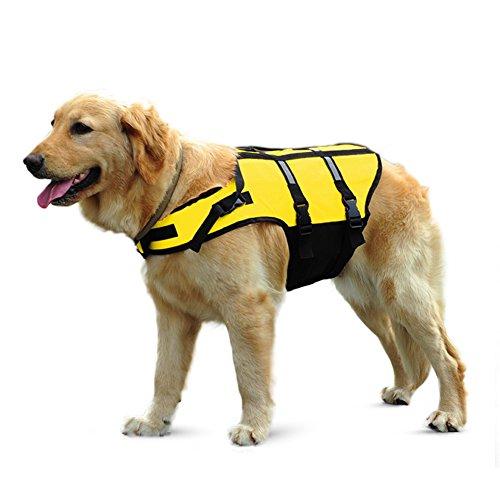 Pet Online Rettungsweste für Hunde baby Sommer Kleidung Leben jacke Weste reflex Auftrieb Floatation Gerät zusätzlichen Riemen, Gelb, 7 xL -