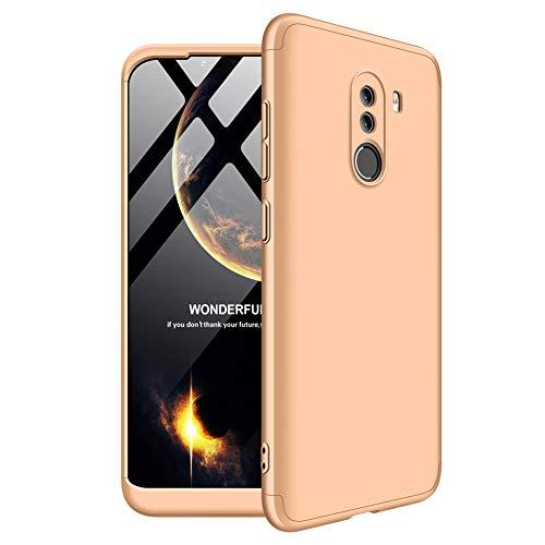 Aidinar Xiaomi Pocophone F1 Custodia Bumper e Anti-Scratch Custodia Rigida Custodia a 360 Gradi Cover Completa per Xiaomi Pocophone F1(Oro)