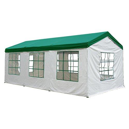 Silvertree Pavillonset TIM | 3 x 6 m | incl. 4 Seitenteile | grün/weiß | Pavillon | wasserabweisend | Air-Vent-Schutz | Gartenzelt | Festzelt | Partyzelt