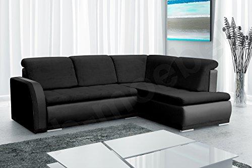 Ecksofa Sofa Eckcouch Couch mit Schlaffunktion und Bettkasten Ottomane L-Form Schlafsofa Bettsofa Polstergarnitur - VERO II (Ecksofa Rechts, Schwarz)