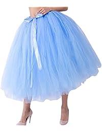 Qmber Tüllrock Damen 50er Rockabilly Hochzeit Brautjungfer Petticoat Spitze Organza Unterrock Ballett Tütü Crinoline, Mesh Tulle Brautjungfer Prinzessin Bubble Mutterschaft Rock