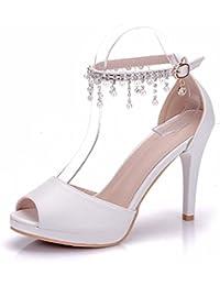 Minitoo MinitooUK-MZ8219, Sandales Pour Femme - Beige - Ivory-9.5cm Heel, 34