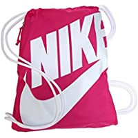 2269d2f4aab15 Nike Heritage Drawstring Gymsack Backpack 400 Denier Sport Bookbag (Pink  Power with White Signature Swoosh