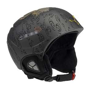 Cébé Kids Fury Deluxe Ski Helmet - Matt Gunmetal with Black/Gold Crown, 56-58 cm