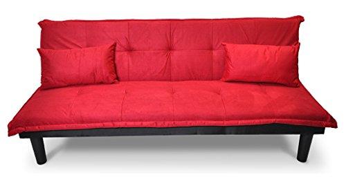 Samira divano letto clic clac in microfibra rosso - divanetto mod. russell
