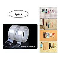 ZXZXZX Mounting Tape, Clear Double-Sided Adhesive Multi-Functional Tape Removable Silicone Gel Tape Traceless Tape Washable Reusable Anti-Slip Sticky Tape, 2 Pack, Wall, Kitchen