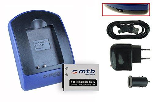 Batteria + Caricabatteria (USB/Auto/Corrente) EN-EL12 per Nikon Coolpix A900, AW130, P340, S610c, S8200, S9900, W300 / KeyMission 360, 170 ... - v. lista