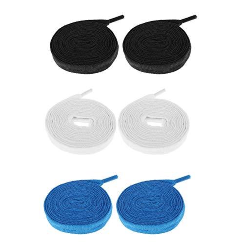 MagiDeal 3 Pairs Skates Schnürsenkel, Ersatzschuhe Schnürsenkel Für Inline Skateschuhe Saiten, Outdoor Skating Equipment Zubehör - Schwarz Blau Weiß