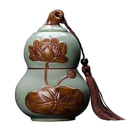 Keramik-Tee-Dosen Doppelschicht-Kürbis-Tee-Dosen Vintage chinesische Vorratsbehälter Gewürze und Gewürze Dosen versiegelte Deckel Home Kitchen Dining Decoration Series -
