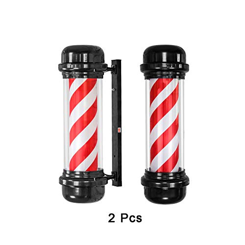 QWET LED Barber Pole Rot-Weiß Wand-Rotationslicht Friseursalon Ladenschild (2 STK.),Red_White
