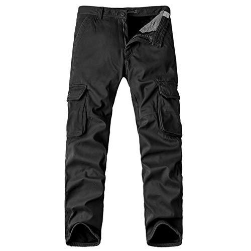 Noradtjcca Winter Herren Multi-Tasche Freizeit warme Lange Hosen Fleece Hose Mitte Taille Hosen Reißverschlüsse für männliche Cargohose - Man Gekleidet Wie