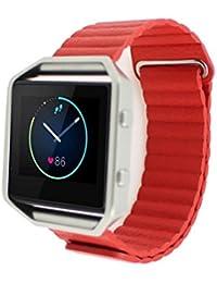 Malloom Correa de cuero de lujo del reloj de la banda de muñeca para Fitbit Blaze SmartWatch (rojo)