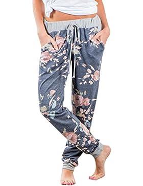 Pantalón de mujer FeiXiang. Pantalones largos flojos y elásticos con estampado floral, de talle alto y pierna...