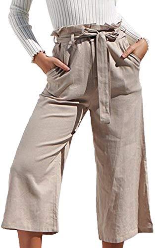 ECOWISH Damen Hosen Lang Weites Bein Sommerhose Gummibund Freizeithose mit Taschen und Gürtel Khaki L