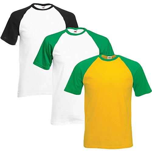 fruit-of-the-loom-confezione-di-3-t-shirt-da-uomo-da-baseball-black-kelly-green-sunflower-x-large
