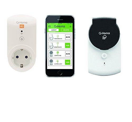 4smile.shop Wifi Schalt-Steckdoser-Set | 1 Stück Wifi Schalt-Steckdose mit App Steuerung für den Aussenbereich, 1 Stück Wifi Schalt-Steckdose mit Energieverbrauchsfunktion