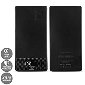 LCARE Polycarbonate Qualcomm QC 3. 0 Quick Charge 10000mAh Power Bank with Type C Port (Black)