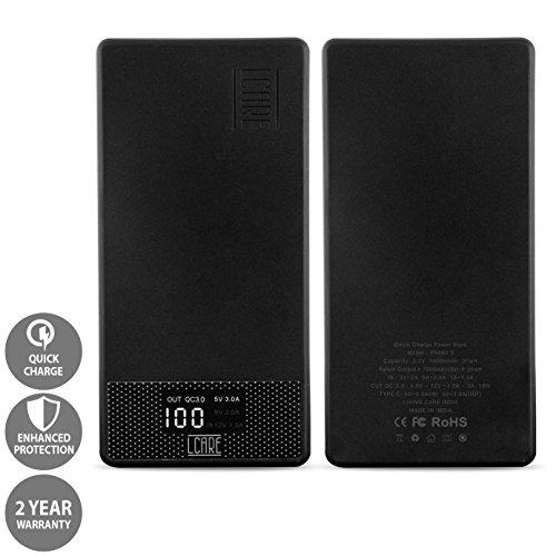 LCARE Qualcomm QC 3. 0 Quick Charge 10000mAh Power Bank with Type C Port (Black)