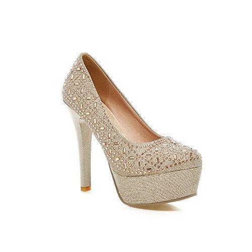 Voguezone009 Senhoras Puros Da Mistura De Materiais De Salto Alto Puxar Bombas De Bico Arredondado Sapatos Em Dourado
