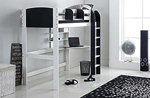 Scallywag Kids High Sleeper Bed - White/Black - Straight Ladder - Integral Desk & Shelves. Made In The UK.