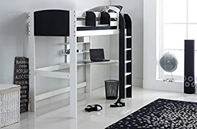 Scallywag Kids High Sleeper Bed - White/Black - Straight Ladder - Integral Desk & Shelves. Made In The UK.