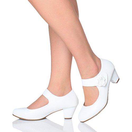 Donna foderata tacco Bianco scarpette comodoa Jane taglia décolleté medio pelle Mary arxCa