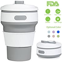 Plegable Taza, Rocontrip plegado de café taza de viaje de silicona a prueba de fugas taza regalo taza 350 ML 100% de calidad alimentaria sin BPA para Camping senderismo