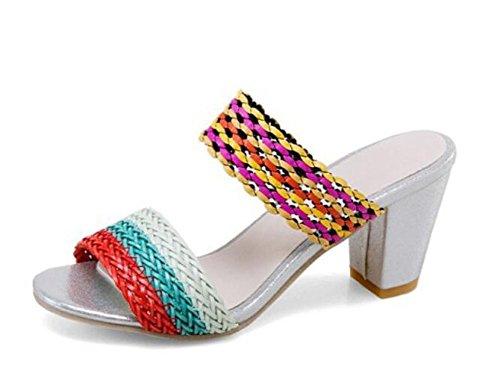 Donna pompa pompa aperta delle donne pompa estate nuovi sandali tessuti high-heel pattini freddi bella modo Multi-colored