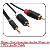 24 K Gold Plated 2 RCA Male To 3.5 Mm Stereo Aux Male Cable Premium Series For Mp3, Smartphones, Set Top Box, DVD Player, LED TV & Projector (1.5m)