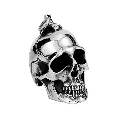 c Biker Groß Schwer Schädel Edelstahl Anhänger Halskette Silber Schwarz, Klein, Mit Kette (Halloween-dekorationen Großhandel)