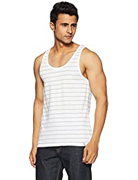United Colors of Benetton Men's Cotton Vest (LM70I_Medium_White and Grey)-902