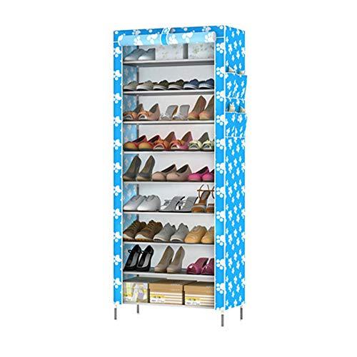 Rack de chaussure 10 couche 9 grille simple multi-fonctionnel rangement chaussure armoire non-tissé anti-poussière de stockage de chaussures rack,bluewhite