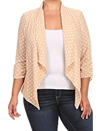 2LUV Women's 3/4 Draped Sleeve Plus Size Loose-Fitting Open-Front Blazer