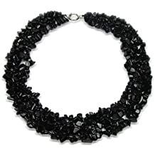 Bling Jewelry Babero Negro Ónix Chip Collar Piedra Precioa