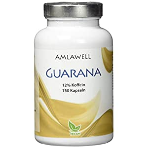 Amlawell Guarana,150 Kapseln, 500mg Guarana Pulver pro Kapsel, hochdosiert, vegan, magenfreundliche Kaffee-Alternative