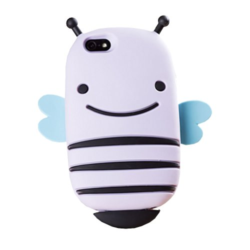 & Apple iPhone 5 5s Coque en Silicone en forme d'abeille (Smiley violet clair