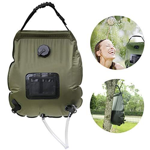 Qdreclod Campingdusche Solardusche Tasche,20L Tragbare Solar Gartendusche Outdoor Warmwasser Dusche Reisedusche mit Thermometer, Duschkopf, Schlauch, Griffstange und Seil zum Aufhängen