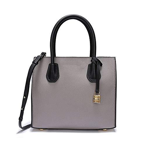 SeSDY Umhängetasche Leder Akkordeon Umhängetasche europäische und amerikanische Damen Tasche Leder Lychee Lock Bag Leder tragbar (Farbe : Gray, größe : L)