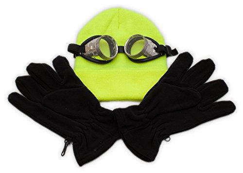 Mini-On-Fun-Kostüm: unverbesserliche Brille, gelbe Mütze und schwarze Handschuhe - einfach zum (Minion Mütze Kostüm)