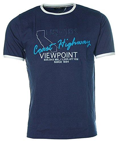 Kitaro Herren Kurzarm Shirt T-Shirt Rundhals Coast Highway Viewpoint Midnight Blue
