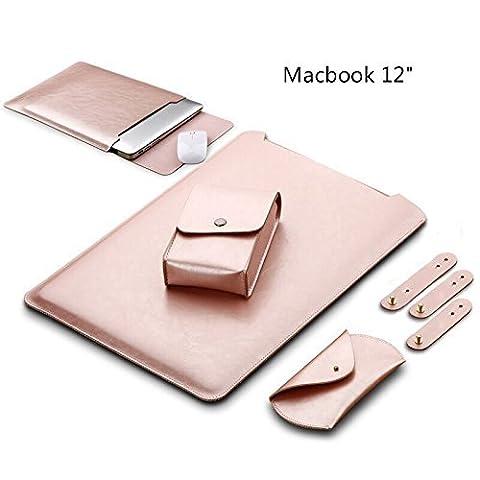GENORTH® Résistant à l'eau Microfibre PU cuir Laptop Sleeve Pochette Sacoche Housse pour Macbook 12 Inclus Sac pour la souris et l'adaptateur secteur (Macbook 12