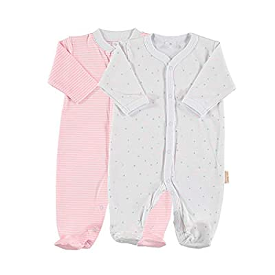 Petit Oh! - Pack de 2 Pijamas de Manga Larga para bebé 100% algodón Pima Talla Recién Nacido NB Color listado Rosa y Estrella Rosa