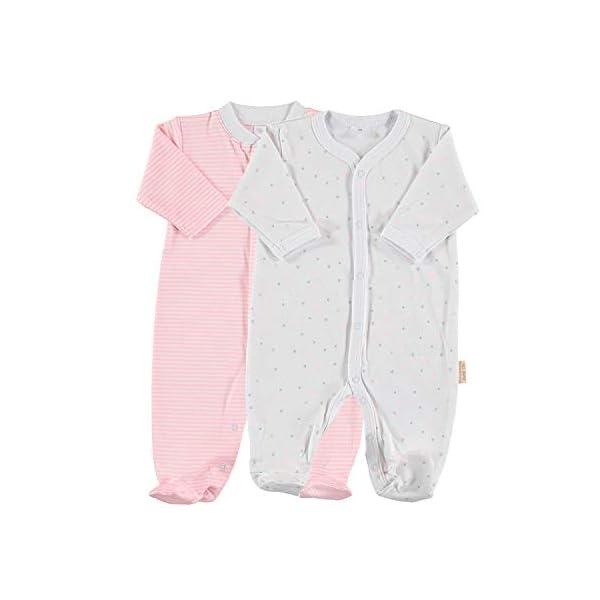 Petit Oh! - Pack de 2 Pijamas de Manga Larga para bebé 100% algodón Pima Talla Recién Nacido NB Color listado Rosa y… 1