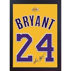S & E Desing Kobe Bryant LA Lakers NBA Autogramm Jersey T-Shirt Auf 100% Baumwolle Leinwand gerahmt
