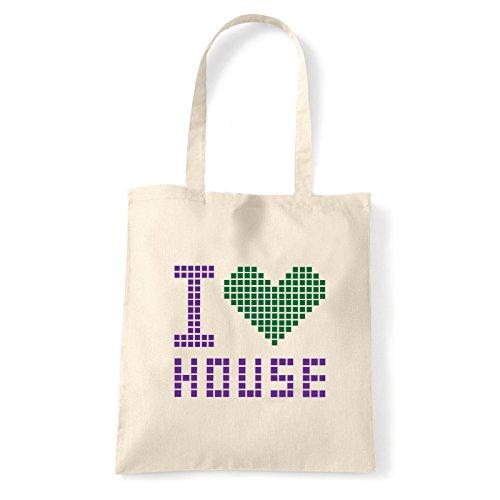 Art T-shirt, Borsa Shoulder I Love House, Shopper, Mare Natural
