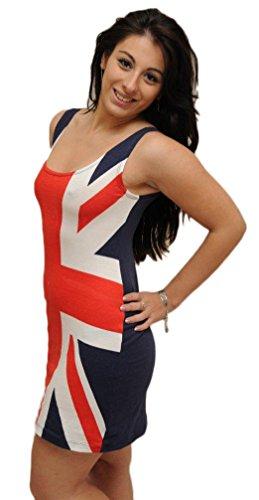 Damen Kleid - Britische Flagge Motiv - Rot Weiss & Blau, (Flagge Kleider Britische)