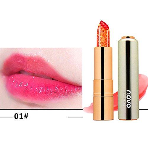 Lippenstift,EUZeo Kristalllippenstift heller Blume Gelee Lippenstift magische Temperaturwechsel Farbe Lippenbalsam (A4) Blumen-gelee