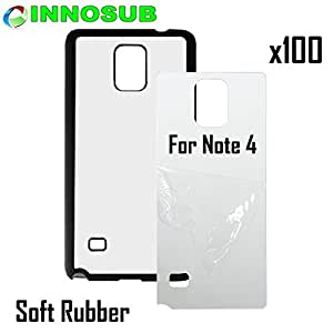 100 x Samsung Galaxy Note 4-Rubber-black - blank dye case + inserts for dye Sublimation phone cover / blank Printable case, Made by INNOSUBTM USA