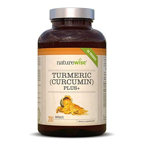 Turmeric Curcumin 500mg with Added Bioperine Extract (Black Pepper) from NatureWise — 200 Capsules — Made in UK