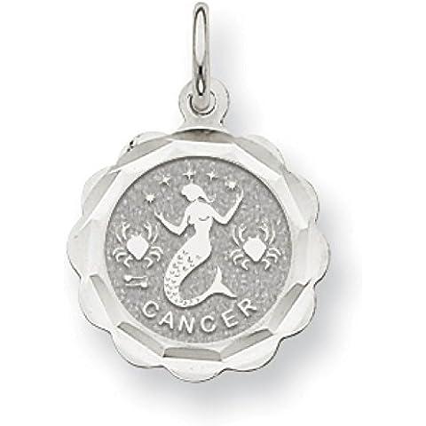 Oro bianco 14 k, ciondolo zodiacale, Cancro smerlo, JewelryWeb